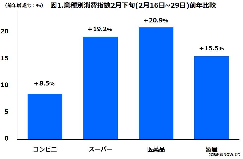 小売店の業種別2月下旬消費指数